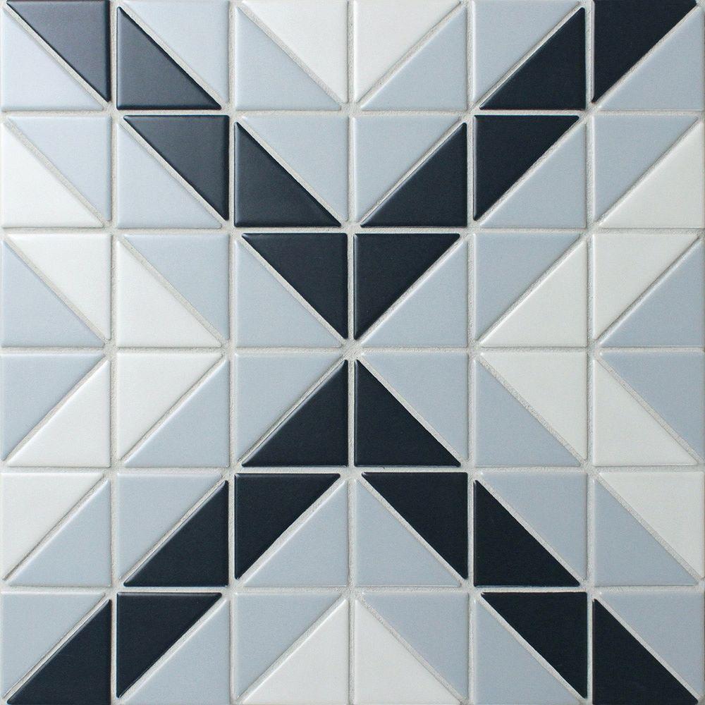 Merola Tile Tre Vertex Blue Ice Mix 10-3/4-inch x 10-3/4-inch x 6 mm Porcelain Mosaic Tile (8.21 sq. ft. / case)