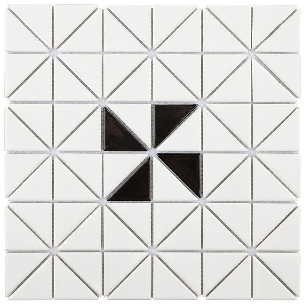 Merola Tile Carreau porcelaine Tre Windmill, 10 3/4 po x 10 3/4 po x 6 mm, blanc et noir lustrés, 8,21 pi2/bte