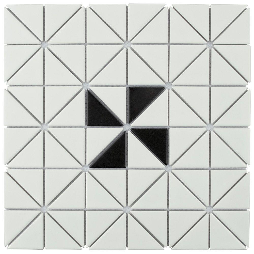 Merola Tile Échantillon - Carreau de porcelaine Tre Windmill,10 3/4 po x 10 3/4 po x 6 mm, blanc et noir mats