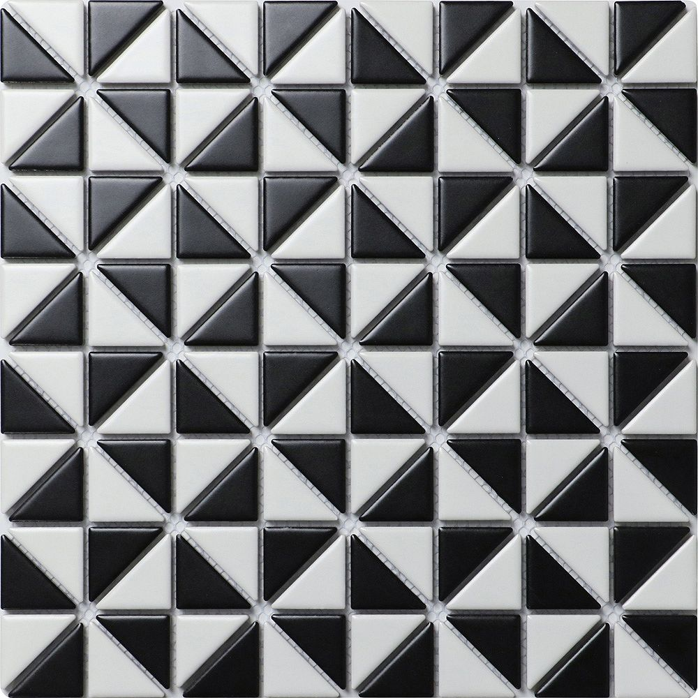 Merola Tile Échantillon - Carreau porcelaine Tre Mini Multi Windmill, 10 1/8 po x 10 1/8 po x 6 mm