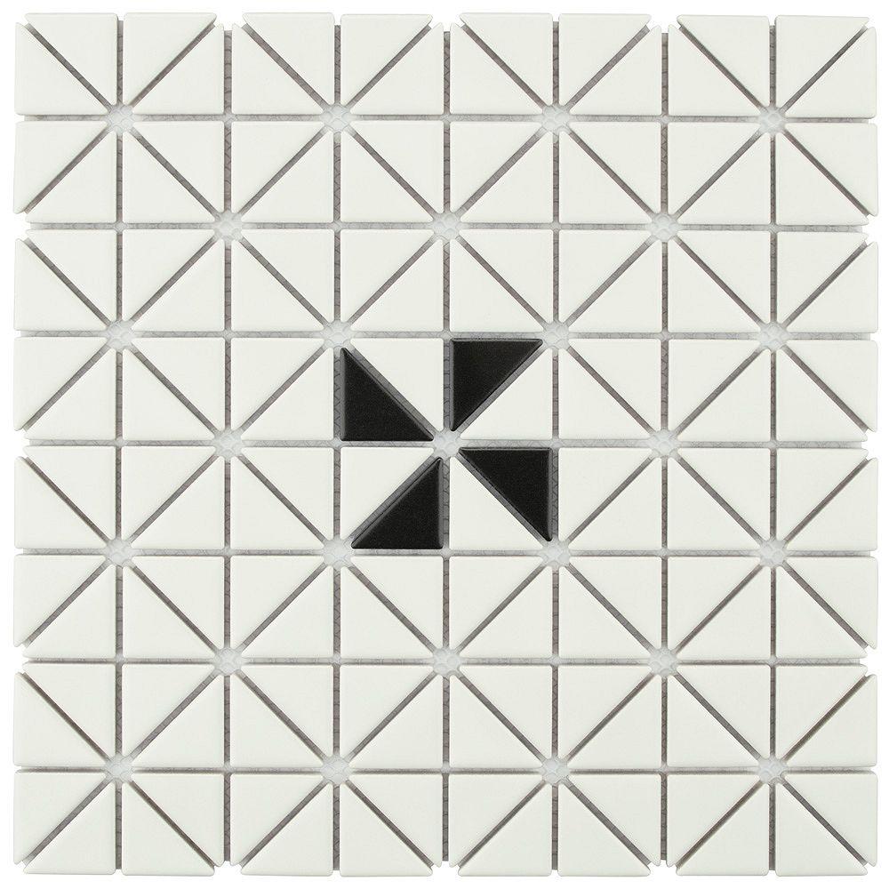 Merola Tile Carreau porcelaine Tre Mini Windmill, 10 1/8 po x 10 1/8 po x 6 mm, blanc et noir mats, 7,3 pi2/bte