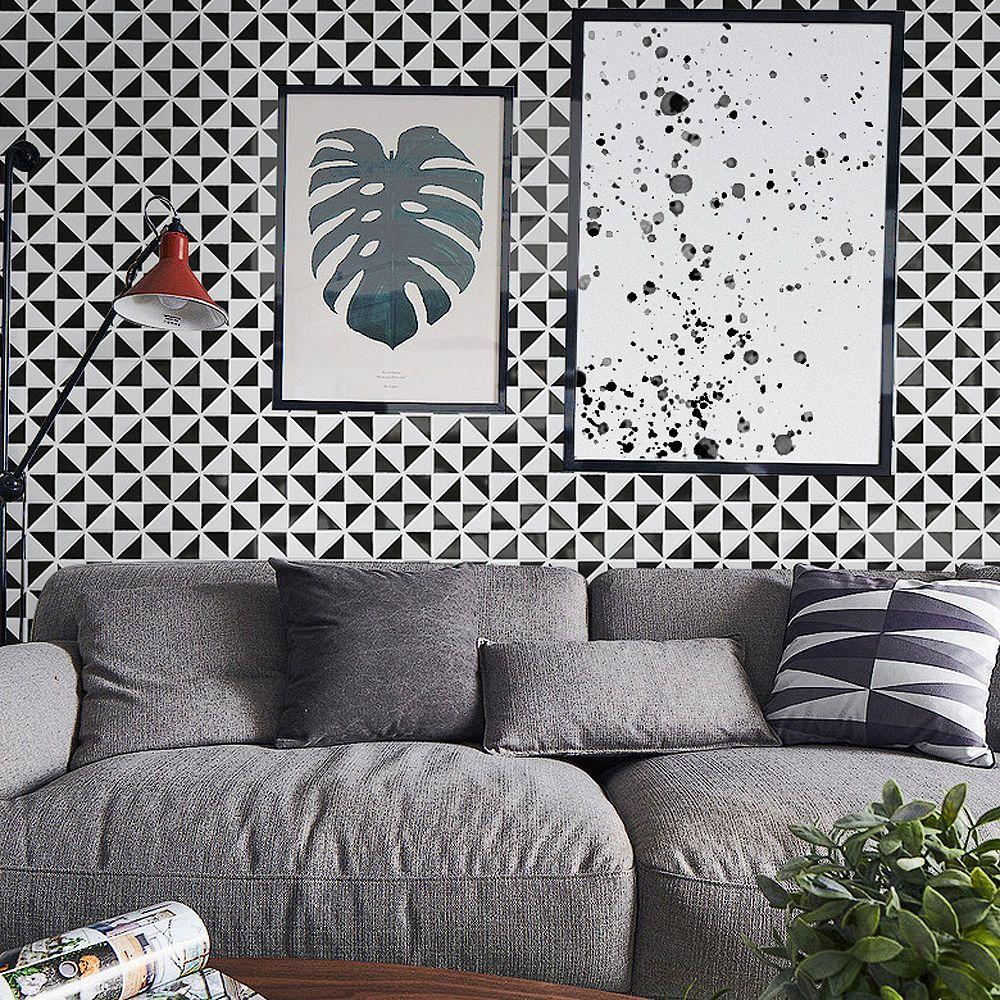 Merola Tile Tre Multi Windmill Glossy White & Black 10-3/4-inch x 10-3/4-inch x 6mm Porcelain Mosaic(8.21 sf/ca)
