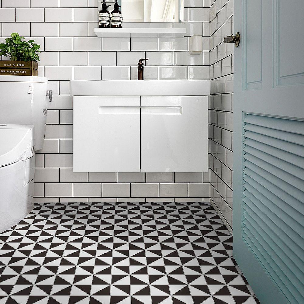 Merola Tile Sample - Tre Super Multi Windmill White & Black 10-7/8-inch x 10-7/8-inch x 6 mm Porcelain Mosaic