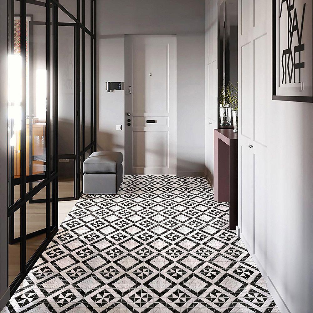 Merola Tile Sample - Tre Quadro Windmill Black with White 10-3/4-inch x 10-3/4-inch x 6 mm Porcelain Mosaic