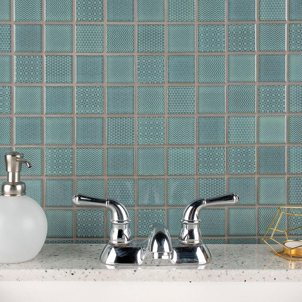 Merola Tile Carreau de porcelaine Celadon, 11 5/8 po x 11 5/8 po x 6 mm, vert émeraude, 9,59 pi2/bte