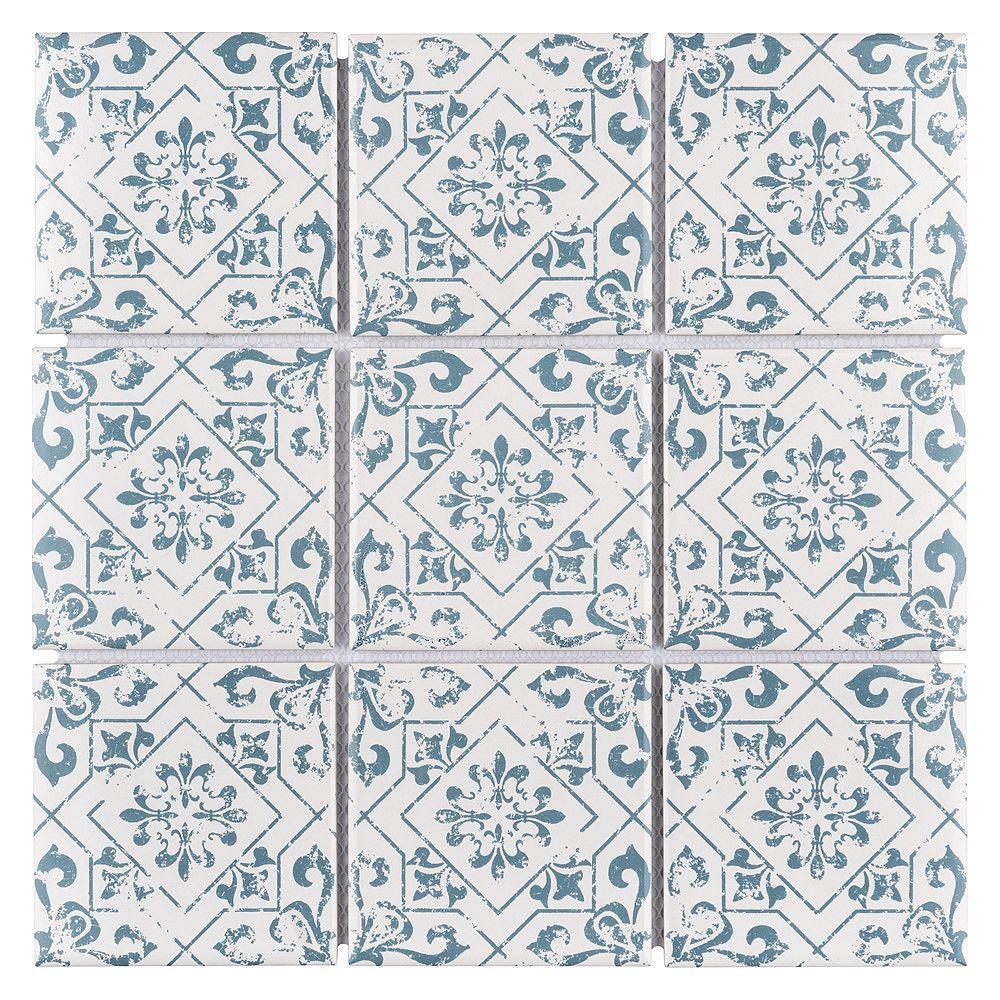 Merola Tile Carreau de porcelaine Affinity Notto Cobalto, 11 3/4 po x 11 3/4 po x 6 mm, 9,79 pi2/bte