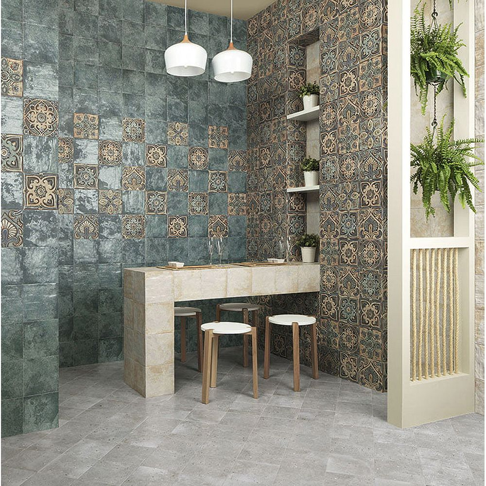 Merola Tile Sample - Mandala Decor Mix 7-7/8-inch x 7-7/8-inch Ceramic Wall Tile