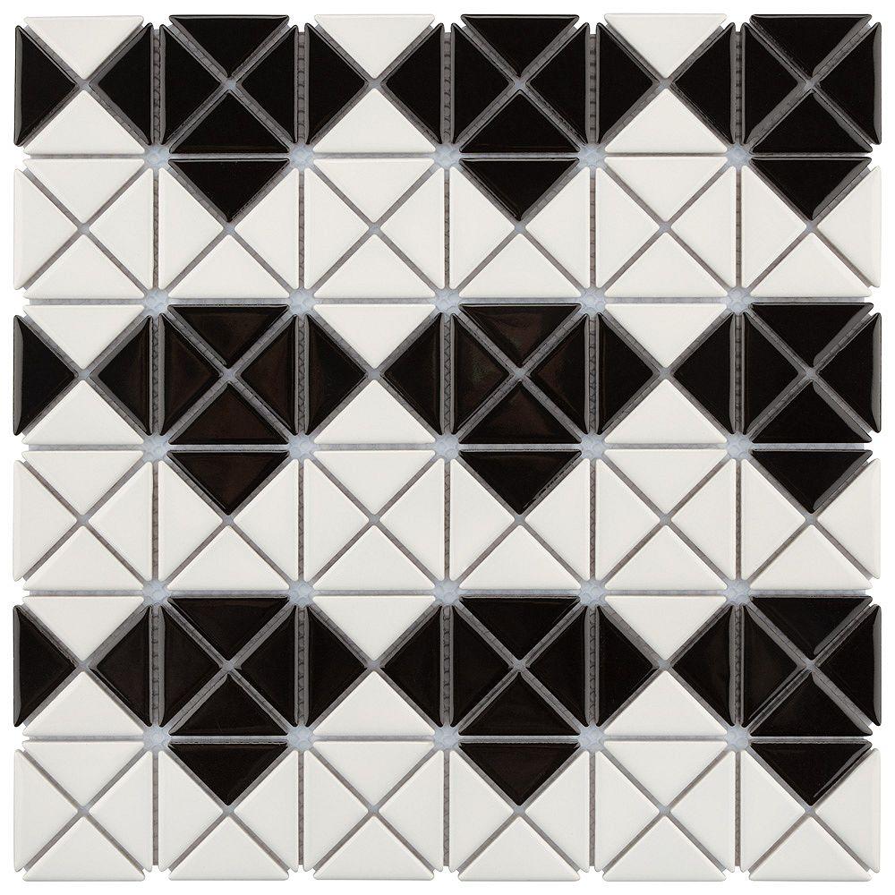 Merola Tile Mosaïque Tre Mini Multi Diamond, 10 3/4 po x 10 3/4 po x 6 mm, porcelaine, blanc et noir lustré