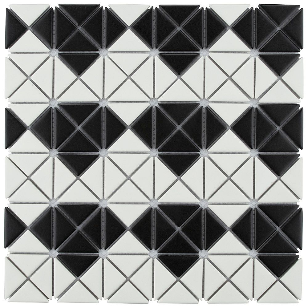 Merola Tile Tre Mini Diamond Matte White with Black 10-3/4-inch x 10-3/4-inch Porcelain Mosaic Tile (8.21 sq. ft.)