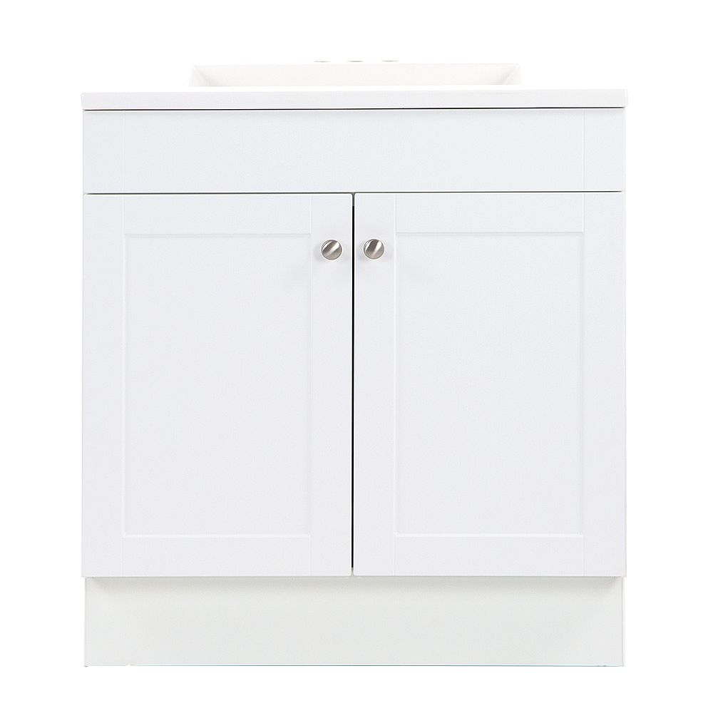 St. Paul Addison 30.25-inch W x 33-inch H x 18.75-inch D Bathroom Vanity in White with Cultured Marble Countertop/Rectangular Sink