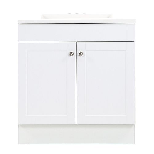 Addison 30.25-inch W x 33-inch H x 18.75-inch D Bathroom Vanity in White with Cultured Marble Countertop/Rectangular Sink