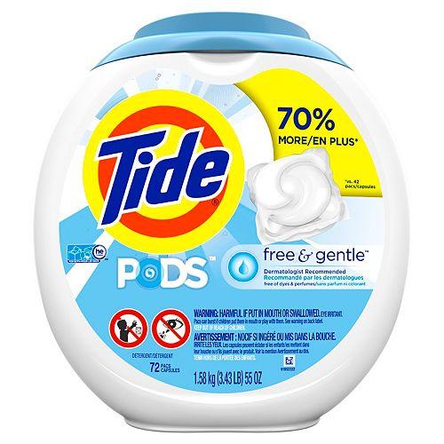 Tide PODS Free & Gentle, Liquid Laundry Detergent Pacs, 72 count