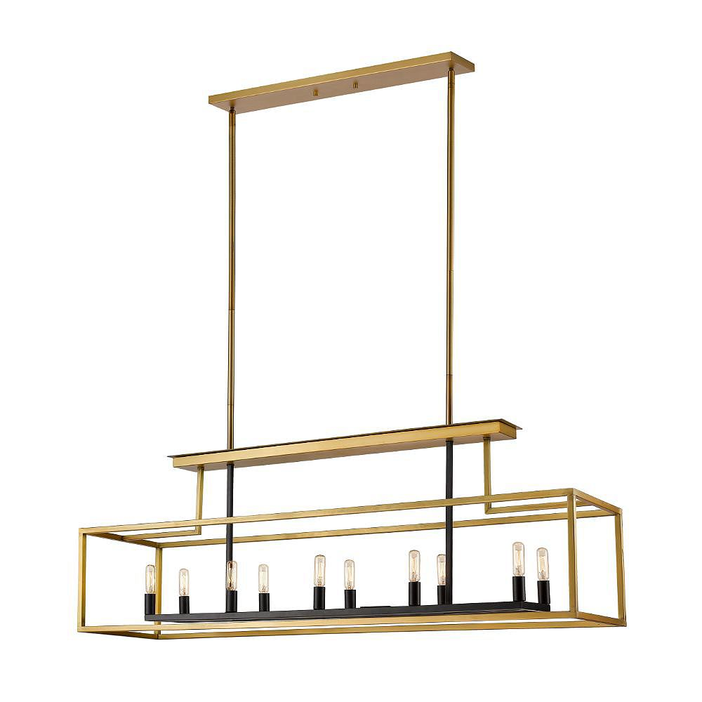 Filament Design 10-Light Olde Brass And Bronze Billiard - 50 inch