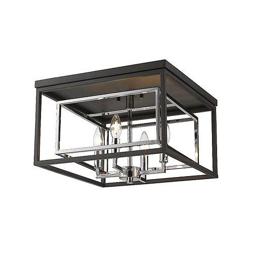 Filament Design 4-Light Chrome And Matte Black Flush Mount