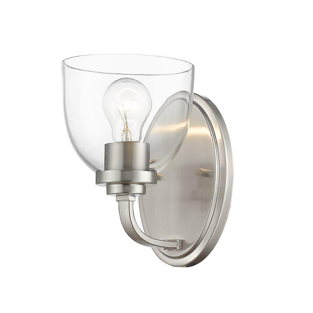 Filament Design Applique murale à 1 ampoule en nickel brossé avec verre transparent - 7,25 pouces