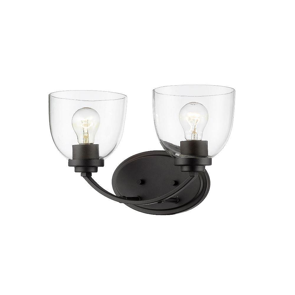 Filament Design Meuble-lavabo à 2 ampoules en bronze avec verre transparent - 7,25 pouces