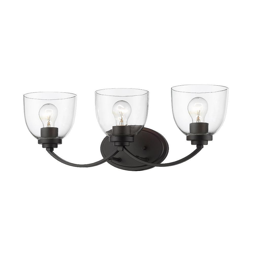 Filament Design 3-Light Bronze Vanity with Clear Glass - 7.25 inch