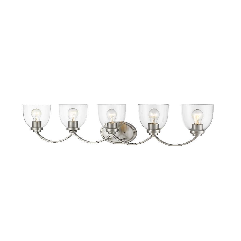Filament Design 5-Light Brushed Nickel Vanity with Clear Glass - 7.25 inch