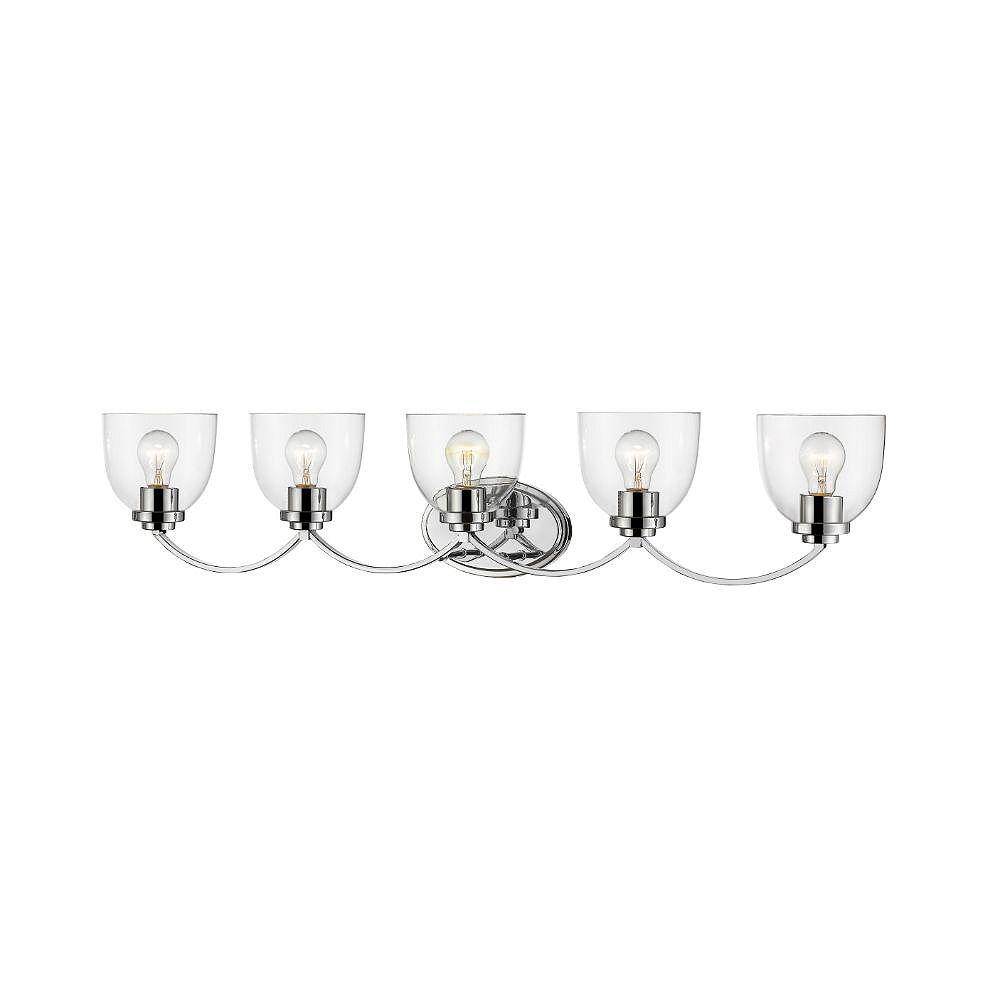 Filament Design Vanité chrome à 5 ampoules avec verre transparent - 7,25 pouces