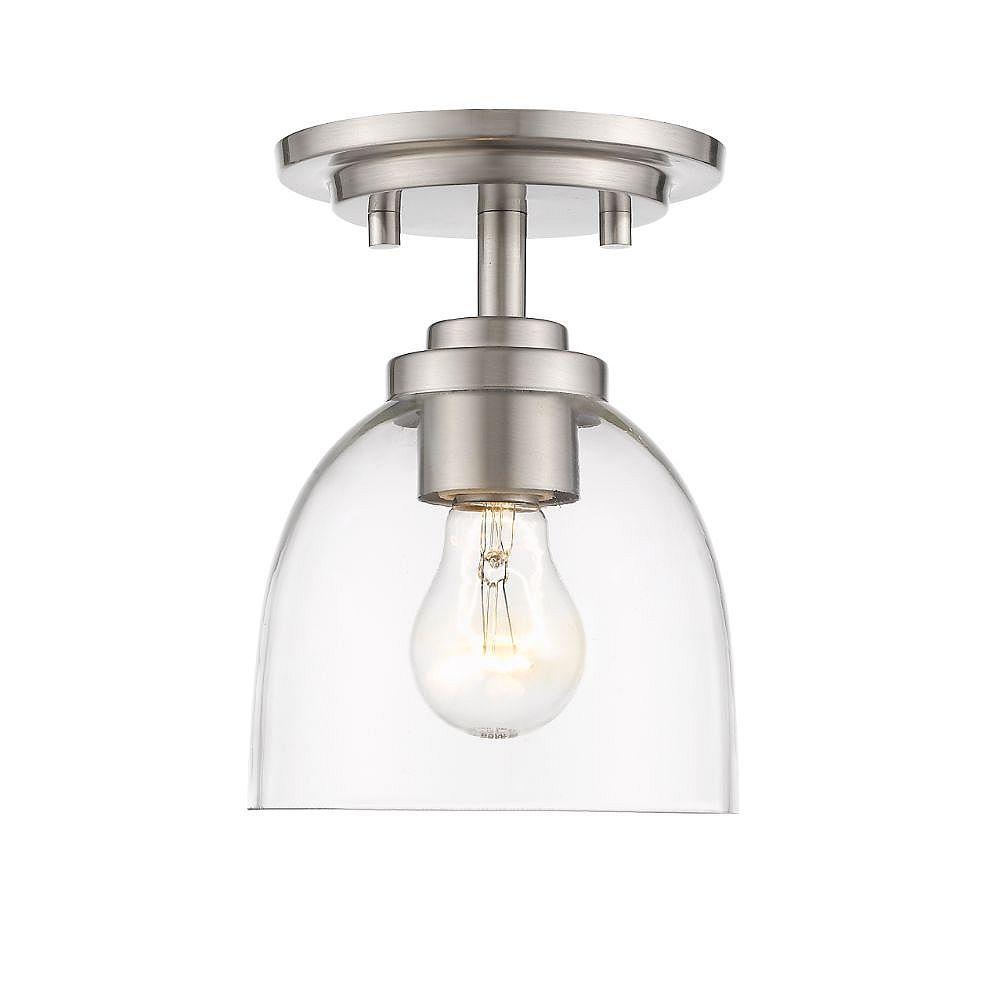 Filament Design Plafonnier à 1 ampoule au fini nickel brossé avec verre transparent