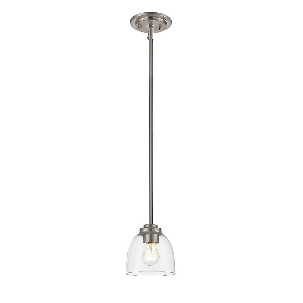 Filament Design 1-Light Brushed Nickel Mini Pendant with Clear Glass - 6 inch