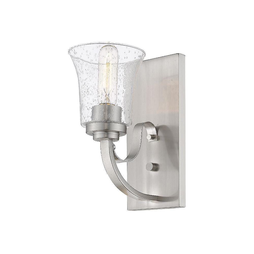 Filament Design Applique murale à 1 ampoule en nickel brossé avec verre à gouttes transparent - 8,75 pouces