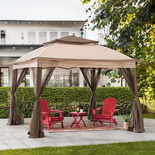Vivian 11 ft. x 11 ft. Tan and Brown 2-Tone Pop Up Portable Steel Gazebo with Netting