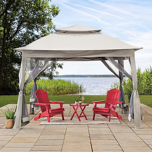 Ayon 11 ft. x 11 ft. Gray Pop Up Portable Steel Gazebo with Mosquito Netting