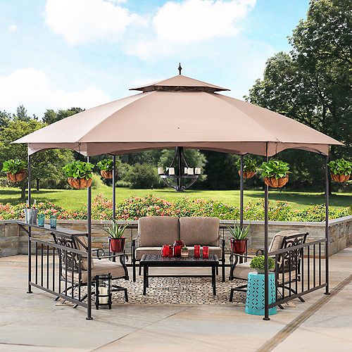 Sunjoy Britni 11 ft. x 13 ft. Brown Steel Hexagon Gazebo with 2-Tier Khaki Dome Canopy