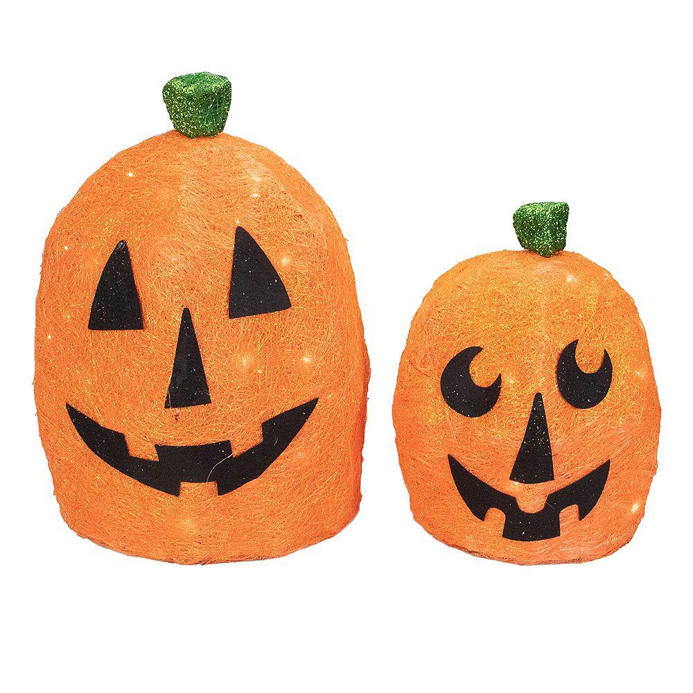 Northlight Lot de 2 décorations d'extérieur Halloween citrouilles en sisal éclairées orange