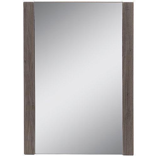 Miroir mural encadré de 50,8 cm l x 71,12 cm H au fini chêne foncé