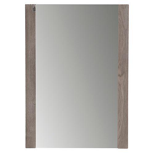 Miroir mural encadré de 50,8 cm l x 71,12 cm H au fini chêne délavé blanc