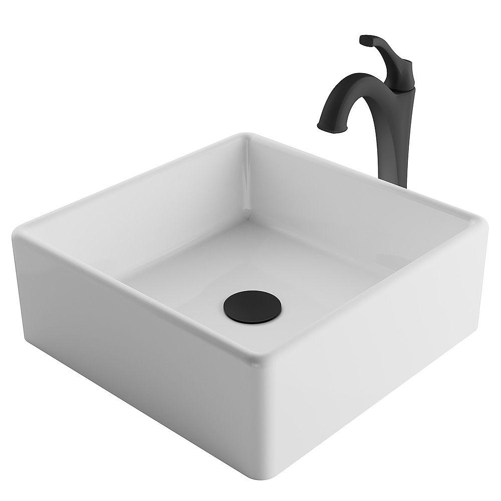 Kraus 15 pouces carré blanc évier récipient et noir mat et robinet de vidange Pop-Up