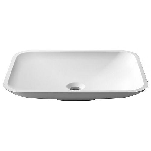 Kraus Rectangle Vessel Bathroom Sink with Matte Finish and Nano Coating in White