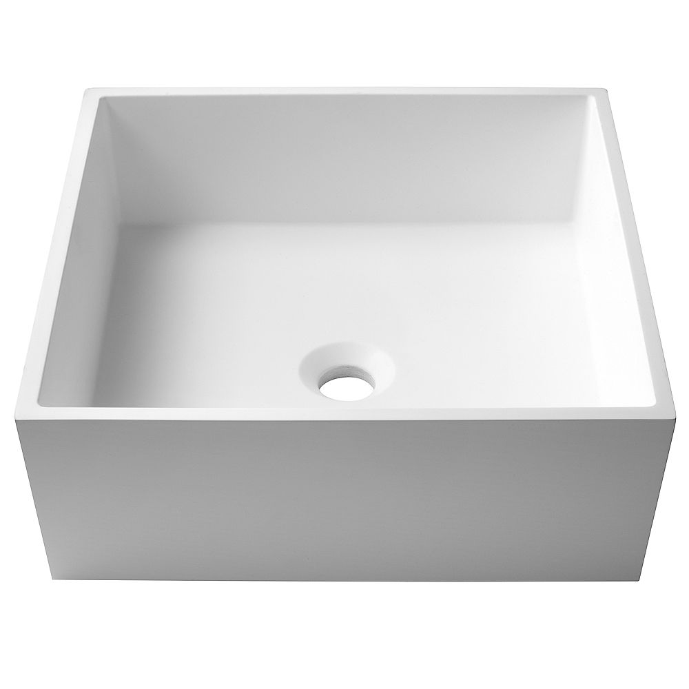 Kraus Square Vessel Composite Bathroom Sink with Matte Finish and Nano Coating in White