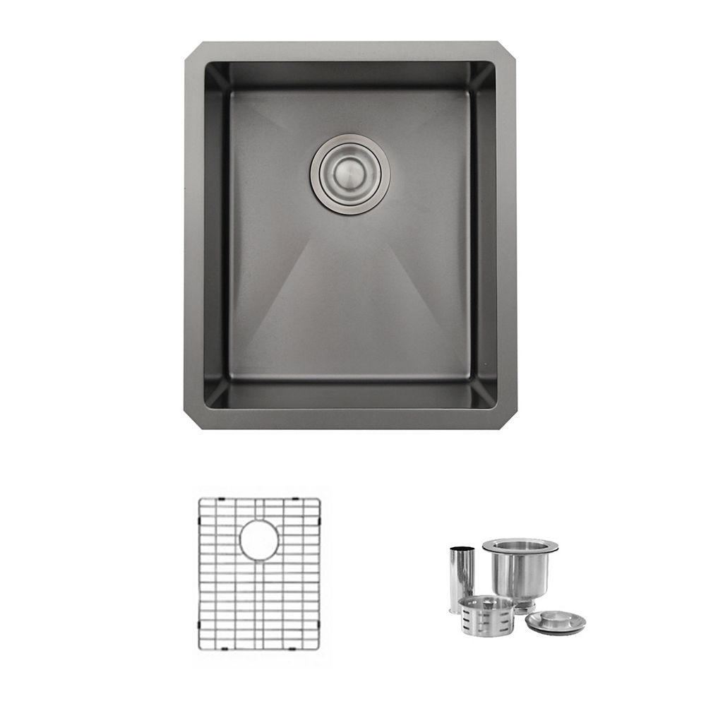 Stylish 16 L x 18 W-inch Undermount Single Bowl 16G Stainless Steel Kitchen Sink with Strainers Pearl Black