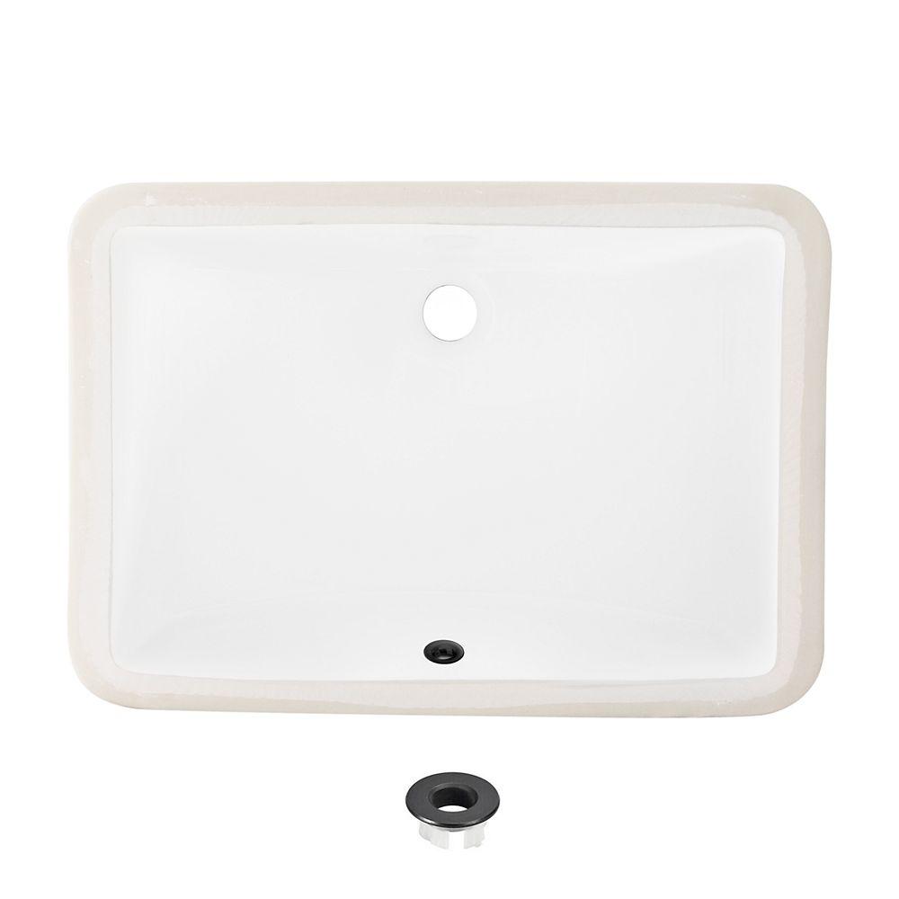 Stylish Lavabo rectangulaire encastré de 21 po en porcelaine avec trop-plein noir mat