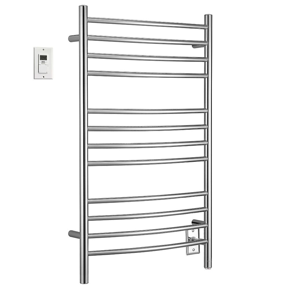 Ancona Lustra 12-Bar Hardwire and Plug-in Towel Warmer with Wall Timer in Polished Stainless Steel