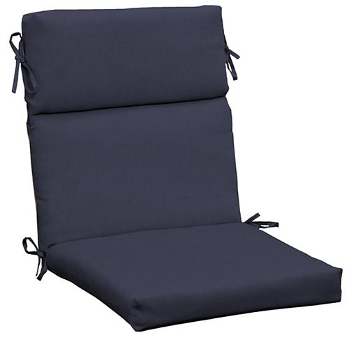 CushionGuard High-Back Fade-Resistant Outdoor Dining Chair Cushion in Midnight