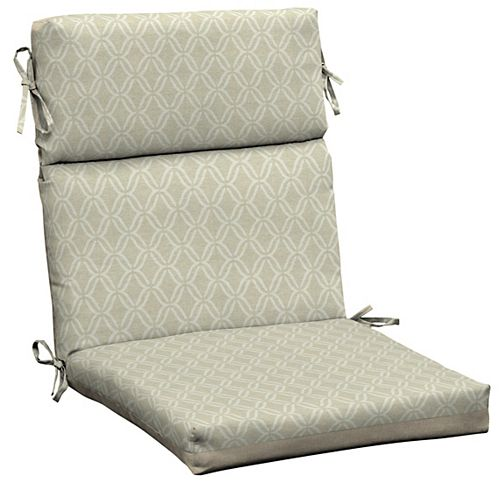 Trellis High-Back Fade-Resistant Outdoor Dining Chair Cushion in Biscuit Jewel Trellis