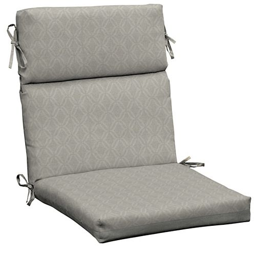 Trellis High-Back Fade-Resistant Outdoor Dining Chair Cushion in Shadow Gray Trellis