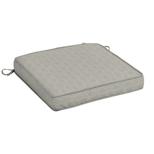 Hampton Bay CushionGuard Fade-Resistant Outdoor Square Seat Cushion in Shadow Gray Trellis