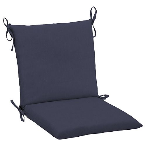 CushionGuard Mid-Back Fade-Resistant Outdoor Dining Chair Cushion in Midnight