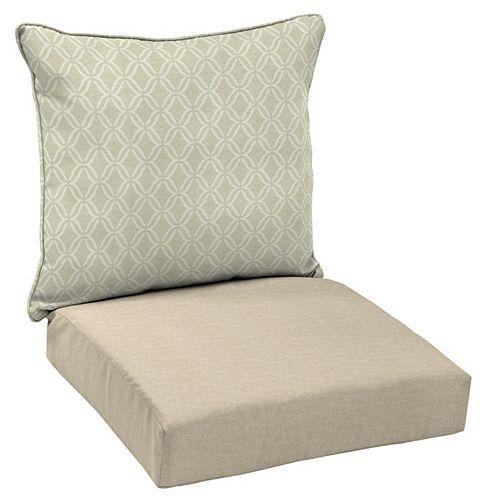 Hampton Bay CushionGuard 2-Piece Deep Seating Outdoor Lounge Chair Cushion in Biscuit Jewel Trellis