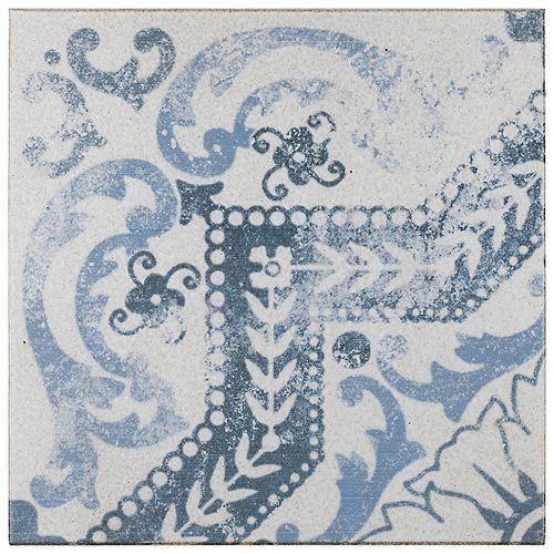 Merola Tile Klinker Alcazar Encaustic 12-3/4-inch x 12-3/4-inch Roseton Ceramic Floor & Wall Tile(1.13 sq. ft./pc)