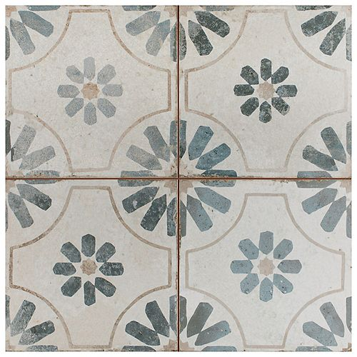 Merola Tile Kings Blume Encaustic 17-5/8-inch x 17-5/8-inch Blue Ceramic Floor and Wall Tile (11.02 sq. ft./ case)