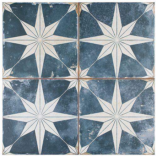 Merola Tile Kings Star Encaustic 17-5/8-inch x 17-5/8-inch Sky Ceramic Floor and Wall Tile (11.02 sq. ft. / case)