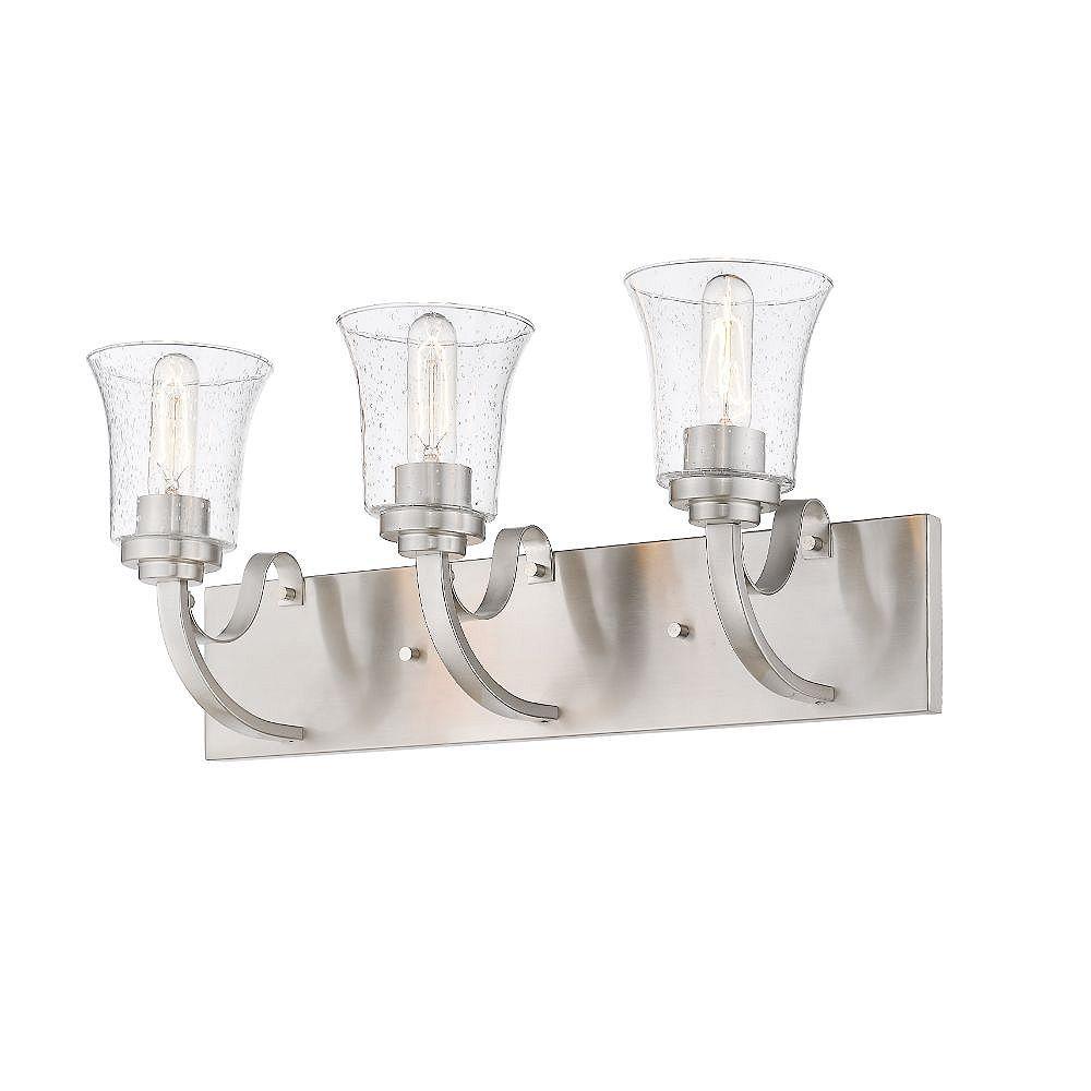 Filament Design Meuble-lavabo à 3 ampoules au fini nickel brossé avec verre à gouttes transparent - 8,75 pouces