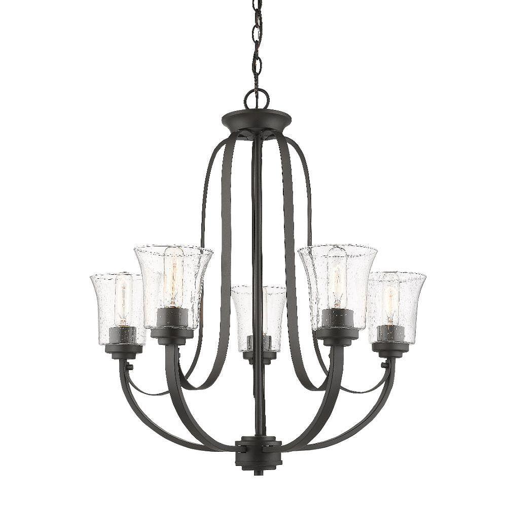 Filament Design Lustre à 5 ampoules en bronze avec verre à gouttes transparent
