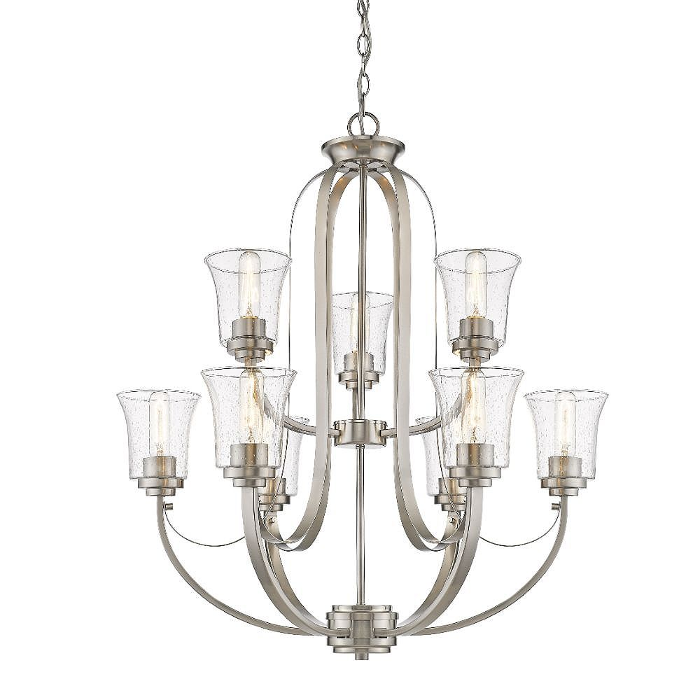 Filament Design 9-Light Brushed Nickel Chandelier with Clear Seedy Glass - 32.5 inches